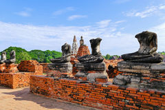 Scenic View Ancient Buddhist Temple Ruins and Fractured Buddha Statues at Wat Chaiwatthanaram in The Historic City of Ayutthaya, T Royalty Free Stock Images
