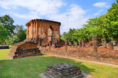 Scenic View Ancient Buddhist Temple Ruins of Wat Tuk in The Sukhothai Historical Park, Thailand Royalty Free Stock Photography