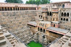 Scenic View of The Ancient Chand Baori Stepwell in the Historical Village Abhaneri, Agra Region, India