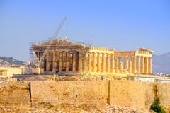 Scenic view of ancient Pantheon temple in Acropolis under constr Stock Photography