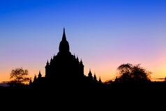 Scenic view of ancient Sulamani temple silhouette at dusk, Bagan Royalty Free Stock Photography