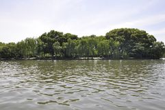 Scenic view area of the famous West Lake from Hangzhou. Beautiful scenic view area from the West Lake in Hangzhou on 3rd may 2018 stock photography
