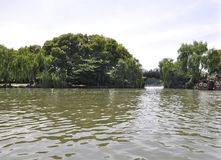 Scenic view area of the famous West Lake from Hangzhou. Beautiful scenic view area from the West Lake in Hangzhou on 3rd may 2018 royalty free stock photo