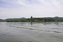 Scenic view area from the famous West Lake in Hangzhou. Scenic view Area with theBaochu Pagoda in the background from the West Lake in Hangzhou China on 3rd may stock photography
