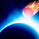 Scenic view of armageddon. Vector illustration. View from space at meteor on his way to planet before collision. Fiery comet in atmosphere. Vector illustration Stock Images