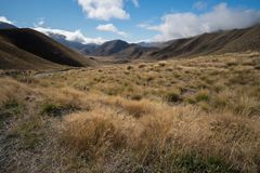 Scenic View around Castle Hill with Castle Hill Peak. In the Background Locate in South Island of New Zealand royalty free stock photos