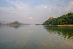 Scenic view of artificial Czorsztynskie Lake and Czorsztyn Castle in Southern Poland Royalty Free Stock Image