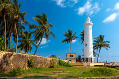 Scenic View At White Lighthouse In Galle Fort Stock Images