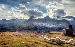 Austrian Alps scenic view in Obertraun. Scenic view of Austrian Alps from the Krippenstein of the Dachstein Mountains range in Obertraun, Austria stock images