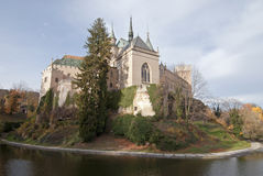 Scenic view of autumn Bojnice castle with moat Royalty Free Stock Photo