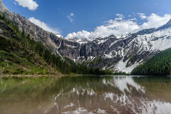 Scenic view of Avalanche Lake and glaciers Royalty Free Stock Image