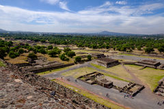 Scenic view of Avenue of dead in Teotihuacan, Mayan pyramids Royalty Free Stock Image