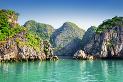 Scenic view of azure water and karst islands in the Ha Long Bay Royalty Free Stock Photos