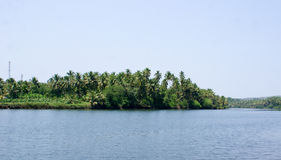 Scenic view of backwaters of Kerala with coconut trees on it's banks Stock Photos
