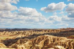 Scenic view at Badlands National Park, South Dakota, USA. On acloudy day stock photography