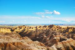 Scenic view at Badlands National Park, South Dakota, USA. On acloudy day stock photos