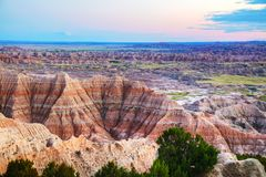 Scenic view at Badlands National Park, South Dakota, USA. At sunset Royalty Free Stock Photos