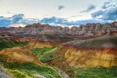 Scenic view at Badlands National Park, South Dakota, USA. At sunset Stock Photo