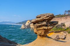 Scenic view at balancing stone, Cape Kiwanda State park, Oregon royalty free stock photo