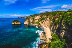 Scenic View of Bali, Indonesia`s Rural Tropical Cliffside with Turquoise Oceans stock photo