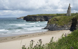 Scenic view of ballybunion beach. Scenic view with beach cliffs and castle of ballybunion beach county kerry ireland Stock Photos