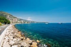 Scenic view of bay marine city quay of Monte Carlo, Monaco. Royalty Free Stock Image