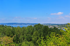 Scenic view of bay from walkout deck. Washington state Stock Photography
