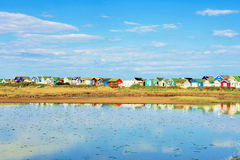 Scenic view of beach huts Stock Photos