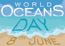Beach and Sea View promoting World Oceans Day in June 8, Vector Illustration. Scenic view with beautiful beach and a greeting message in the sky, ocean water and Royalty Free Stock Photography