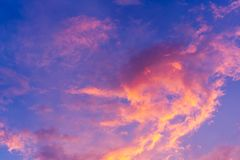 Scenic view of beautiful blue sky with clouds in sunset time stock photos
