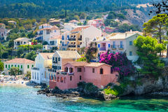 Scenic view of beautiful fisherman village Asos in Kefalonia Royalty Free Stock Photos