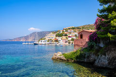 Scenic view of beautiful fisherman village Asos in Kefalonia Royalty Free Stock Photography