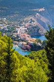 Scenic view of beautiful fisherman village Asos in Kefalonia Stock Images