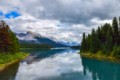 Scenic view of Beautiful Mountain Range and Lake in Rockies. Glacier lake and beautiful mountain range in Jasper National Park in the Canadian Rockies Royalty Free Stock Photos