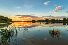 Scenic view of beautiful sunset above the river at summer Royalty Free Stock Image