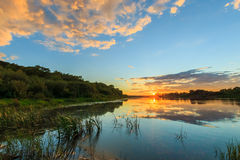Scenic view of beautiful sunset above the river at summer Stock Images