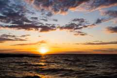 Scenic view of beautiful sunset above the sea. Royalty Free Stock Photo
