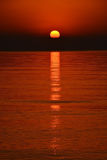 Scenic view of beautiful sunset above the sea at Cyprus Stock Photography
