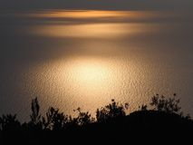 Scenic view of beautiful sunset above the sea. With Olive Trees Silhouettes from Pelekas, Island of Corfu, Greece Royalty Free Stock Photography