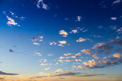 Scenic view of a beautiful sunset with blue sky Royalty Free Stock Photography