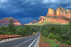 Scenic view of the Bell Rock in approaching thunde Stock Photos