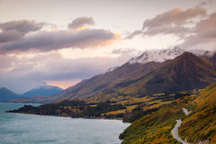 Scenic view from Bennetts bluff viewpoint, near Glenorchy, New Zealand Stock Image