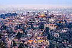 Scenic view of Bergamo old town cityscape fter sunset, Italy, Eu Royalty Free Stock Photography