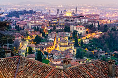 Scenic view of Bergamo old town cityscape at sunset, Italy Royalty Free Stock Photos