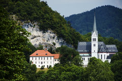 Scenic view of Bled church near the lake Stock Photography