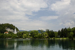 Scenic view of Bled Lake, Slovenia. Stock Images