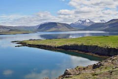 Scenic view with blue large Icelandic lake and mountains typical for Iceland Royalty Free Stock Image