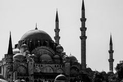 Scenic view of Blue MosqueSultanahmet Cami with behind the New MosqueYeni Cami. Black and white colors. Scenic view of Blue MosqueSultanahmet Cami with behind royalty free stock photography