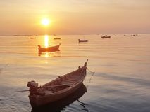 Scenic View of Boat Floating in The Sea While Sunset. In Pattaya, Thailand Stock Photography