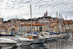 Scenic view of boats in the harbour at Marseilles Stock Photos